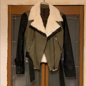Vegan leather and Sherpa Fall Jacket